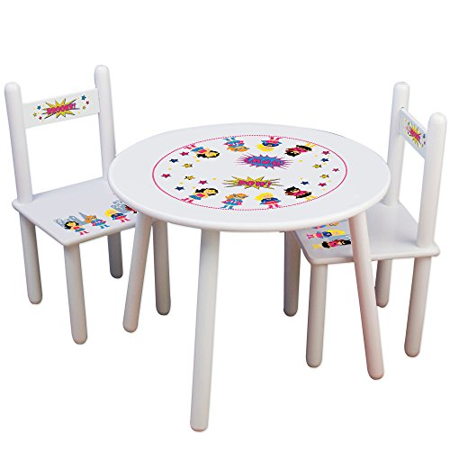 Personalized Girls SuperheroChildrens White Table and Chair Set