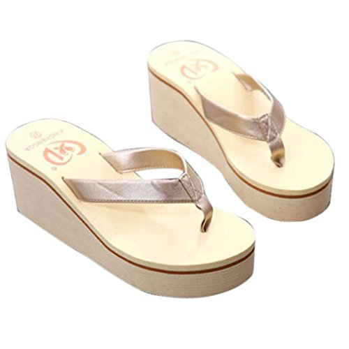 YANG-YI Women Flip Flops Sandals Boho Muffin Slope with Sandals (Gold, US-8) from YANG-YI Sandals