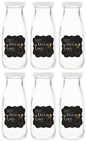 (Set of 6 Fashioncraft Decorative Vintage Style Bottles for Wedding Decor (