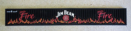 Jim Beam Kentucky Fire Bar Rail Spill Mat Black NEW ()