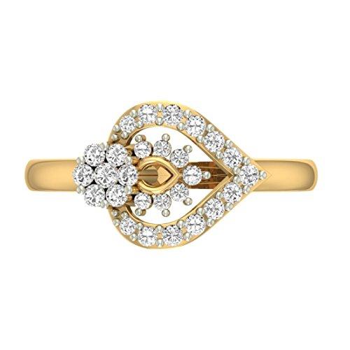 14K jaune Or 0,44carat au total Round-cut-diamond (IJ   SI) en diamant