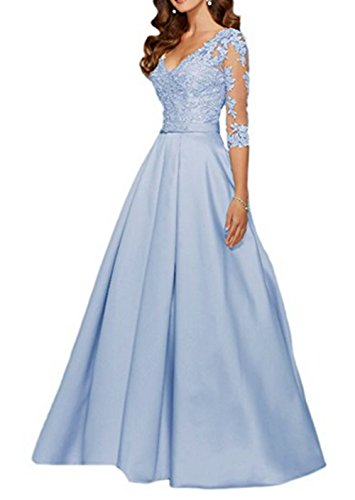 AngelaLove Applique V-Neck 3/4Long Sleeve Mother of The Bride Dress Beaded Formal Evening Gown Ice Blue (Blue Ice Ball Gown)