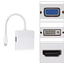 Mini DisplayPort to VGA HDMI DVI Adapter Cable Mini DP to HDMI Connector Mini DP 3 in 1 Converter For Macbook To Monitor TV