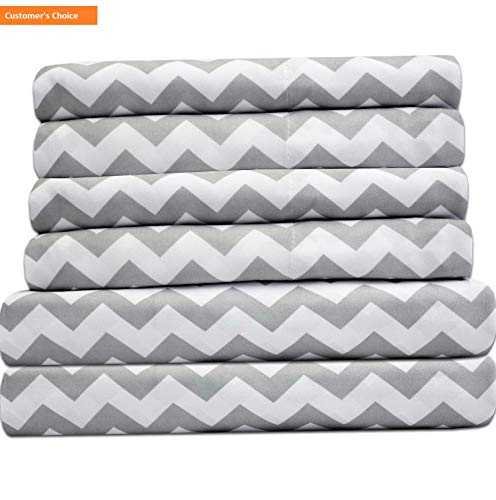(Mikash New Soft King Size Bed Sheets - 6 Piece 1500 Thread Count Fine Brushed Microfiber Deep Pocket King Sheet Set Bedding - 2 Extra Pillow Cases, Great Value, King, Chevron Gray | Style 84596711)