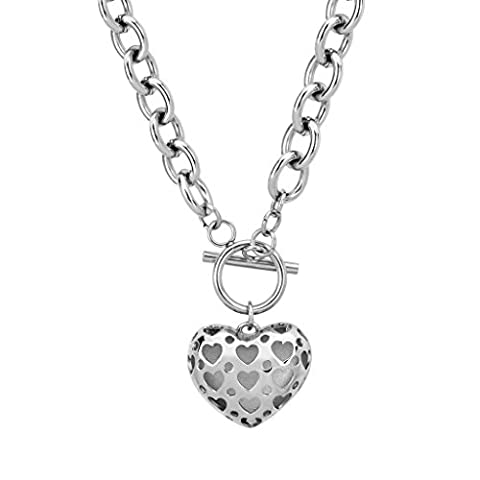 Silver Color 316L Stainless Steel Filigree Heart Locket Charm Pendant Necklace 18.8