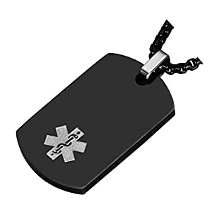 Medical Alert Jewelry Custom Engraved Medic ID Necklace for Men Women,Chain 20-24 Inches