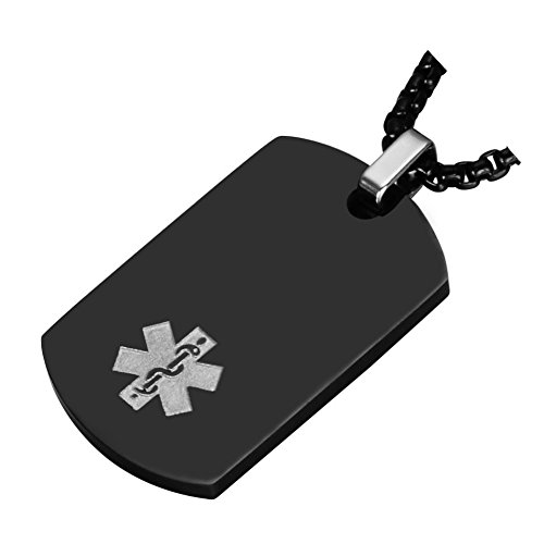 Medical Alert Jewelry Custom Engraved Medic ID Necklace for Men Women,Chain 20-24 Inches,Black