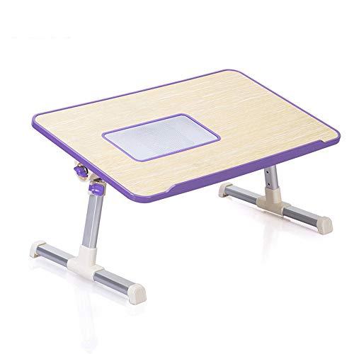 KKDWJ Mesa Plegable, portatil portatil de Madera Lap Desk, con funcion de refrigeracion y Ajustar la Altura y el tiron, para el Dormitorio y la Sala de Estar Estudio,Purpura