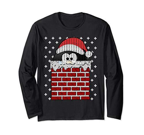 UGLY CHRISTMAS Chimney Penguin Santa Hat Cute Women Men Gift Long Sleeve T-Shirt