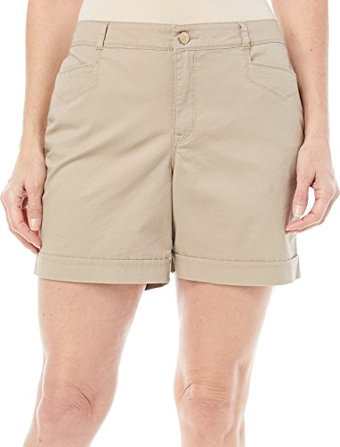 Gloria Vanderbilt Womens Gabrielle Mid Rise Causal Comfort Walking Shorts (14, Latte) (Shorts The Womens Rise Short On)