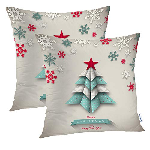 Batmerry Set of 2 Merry Christmas Decorative Pillow Covers 18x18 inch,Turquoise Stars On an Aqua Background Double Sided Throw Pillow Covers Sofa Cushion Cover (Turquoise Red Christmas)