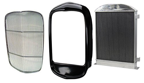 Stainless Grill Insert Kit (NEW SOUTHWEST SPEED 1932 FORD HI-BOY RADIATOR WITH TRANSMISSION COOLER, STEEL GRILLE SHELL, & POLISHED STAINLESS STEEL INSERT, RODDER-STYLE GRILL WITHOUT THE CRANK HOLE OR THE RADIATOR FILL HOLE FOR STREET ROD, HOT ROD, RAT ROD)