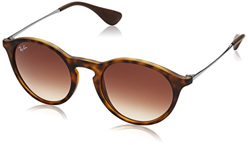 Ray-Ban INJECTED UNISEX SUNGLASS - RUBBER HAVANA Frame BROWN GRADIENT DARK BROWN Lenses 49mm - Round Lenses Sunglasses Ray Ban