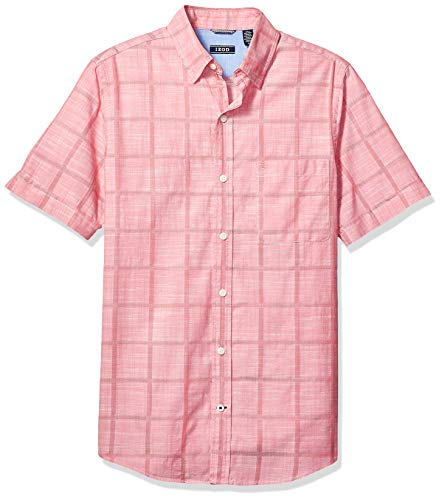 IZOD Men's Saltwater Short Sleeve Windowpane Button Down Shirt, Rapture Rose, Small