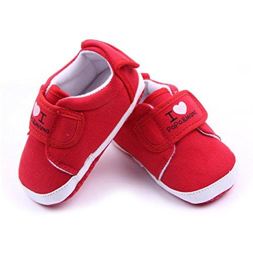 exiu recién nacido bebé Niños Niñas Suave Suela primera Walkers lienzo zapatillas zapatos 0–12M azul azul oscuro Talla:9-12 months/Tag 13 rosso