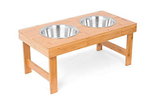 Internet's Best Bamboo Elevated Pet Feeder | 2 Dog Bowls | Raised Stand with Double Stainless Steel Bowls (Medium, Natural) by Internet's Best
