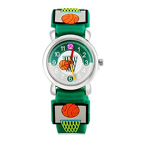 Jewtme Cute Toddler Children Kids Watches Ages 3-8 Analog Time Teacher 3D Silicone Band Cartoon Watch for Little Girls Boys