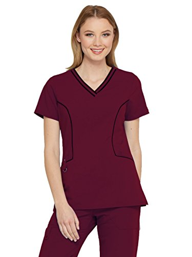 Dickies Xtreme Stretch Women's V-Neck Solid Scrub Top Xx-Large Wine