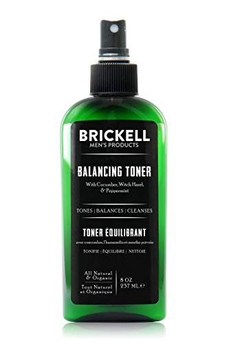 (Brickell Men's Balancing Toner For Men, Natural and Organic Alcohol-Free Cucumber, Mint Facial Toner with Witch Hazel, 8 Ounce,)