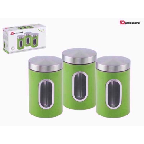 SQ Professional Stainless Steel Canister Set 3 Pcs With Window 11X17 Cm Green Green Canister