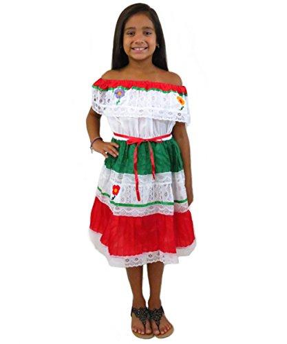 [Leos Imports (Tm) Mexican Flor Dress for Girls (Ages 2, Tricolor)] (Cinco De Mayo Dress)