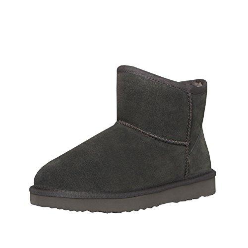SKUTARI Wildleder Damen Winter Boots   Extra Weich & Warm Gefüttert   Schlupf-Stiefel mit Stabile Sohle   Pailletten Glitzer Meliert Schlangen-Look Grau 2
