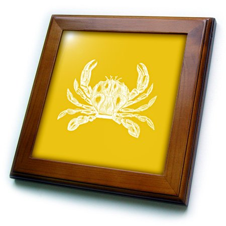 3dRose ft_164899_1 White Crab. Golden Gold Yellow. Nautical Beach Sea Ocean Marine Animal-Framed Tile Artwork, 8 by 8-Inch