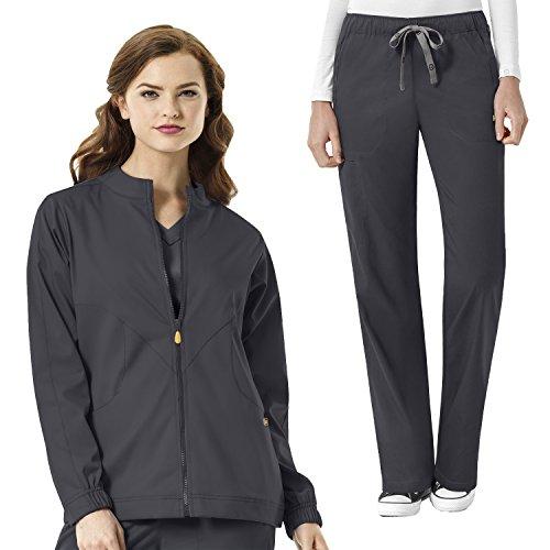 WonderWink Next Women's Boston Zip Front Warm Up Scrub Jacket & Drawstring Cargo Pant Set + FREE GIFT