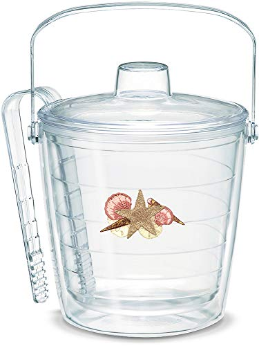 - Tervis 1053285 Sea Shells & Starfish Insulated Tongs with Emblem Lid-Boxed, 87oz Ice Bucket, Clear