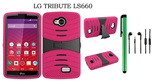 (LG Tribute LS660 Dual Layer Hybrid Case - UCASE Cover With Kickstand and Screen Installed + 3.5MM Stereo Earphones + 1 of New Metal Stylus Touch Screen Pen (PINK))