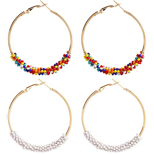 Beaded Hoop Circle Geometric Dangle Earrings Drop Beads Chandelier Stud Earrings Women Girls Fashion Piercing Minimalist Wedding Bridal Tribal Bohemian Dangling Charms Jewelry 2 Pack Colorful White ()