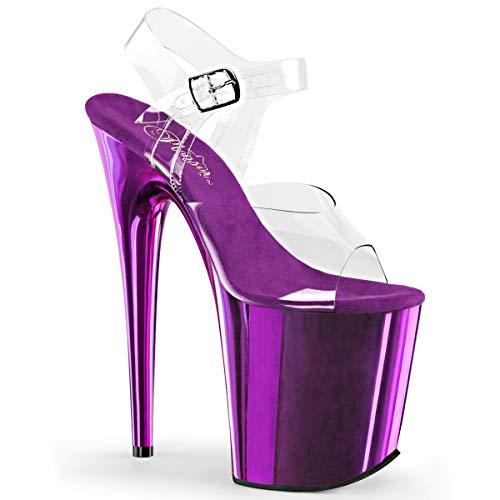 Pleaser Women's Flam808/C/Ppch Platform Dress Sandal, Clear/Purple Chrome, 8 M US