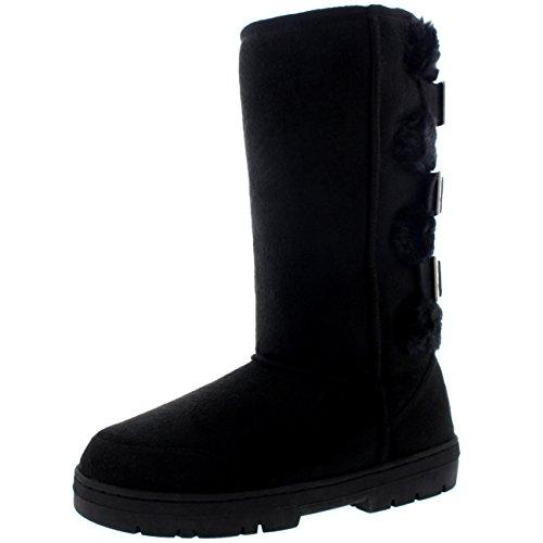 Womens Fur Boots Three Buckle Back Waterproof Winter Snow Boots - Black/Black (3 Buckle)