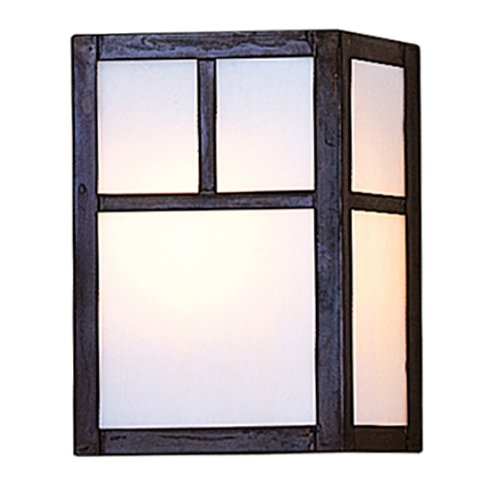 Arroyo Craftsman Sconce - Arroyo Craftsman mission sconce with T-bar overlay Bronze Metal Finish, Tan Glass, 8