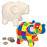Elephant Ceramic Coin Banks for Children to Design Colour and Decorate as a Gift (Box of 2)