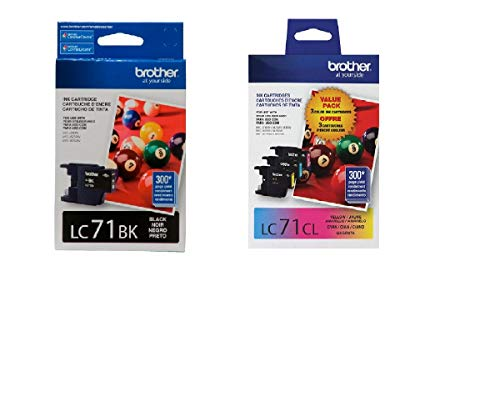 Brother LC71 Ink Cartridge (Black, Cyan, Magenta, Yellow, 4-Pack) in Retail Packaging (Brother Printer Cartridges Lc71)