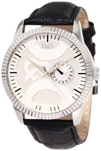 D&G Dolce & Gabbana Women's DW0695 Twin Tip Classic Round Boyfriend Analog Multi-Function Silver and White Dial Watch