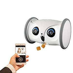 SKYMEE Owl Robot: Mobile Full HD Pet Camera with Treat Dispenser, Interactive Toy for Dogs and Cats, Romote Control via App