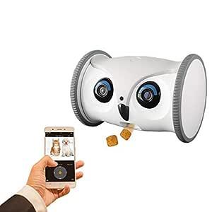 SKYMEE Uggla Robot: Rörlig Full HD husdjurskamera med dispenser, interaktiv leksak för hundar och katter, mobil kontroll via app