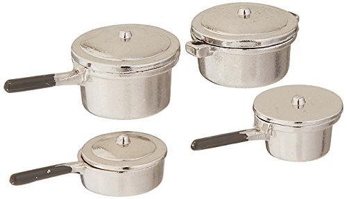 Darice 2318-43 Miniature Stovetop Cookware, Silver (Stove Kitchen Dollhouse)