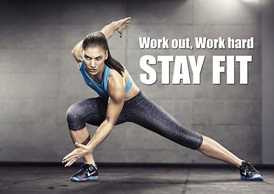 Motivational 400 Stay Fit Work Hard Gym Work Out Inspirational Quote Poster
