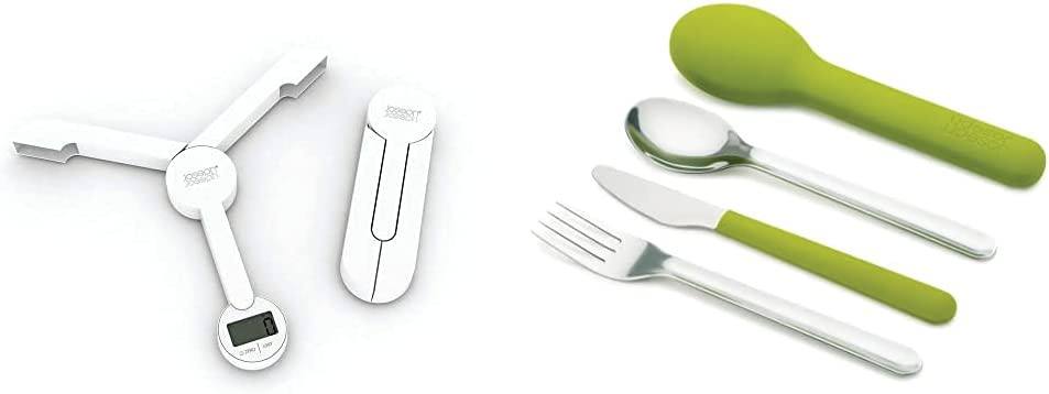 Joseph Joseph 40071 TriScale Compact Folding Digital Kitchen Food Scale, White & GoEat Compact Stainless-Steel Cutlery Set, Green