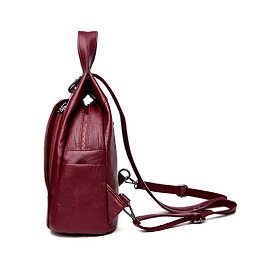 Xinwcang Rojo Tipo Mujer Bolsa de Mochilas para de del Bolso Bolsa Casual Mochila Viaje Impermeable Vino de Hombro Moda Cuero PU la Mano Mujeres AArnqga7