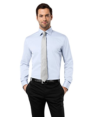 Non Iron Twill Stripe Dress Shirt (Vincenzo Boretti Men's Shirt Slim Fit Double Cuff Uni Non)