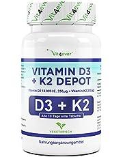 Vit4ever® Vitamin D3 10.000 I.E + Vitamin K2 200 mcg Menaquinon MK7 Depot - 100 Tabletten - 99% All-Trans - Laborgeprüft - Alle 10 Tage eine Tablette - Vegetarisch - Hohe Bioverfügbarkeit