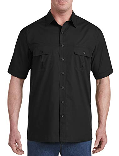 Harbor Bay by DXL Big and Tall Short-Sleeve Co-Pilot Sport Shirt (4XL, Black) (Casual Pilot)