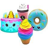 KYW Jumbo squishies, Slow Rising Toy 4 PCS Cake Squishy,Unicorn Donut,Star Galaxy Unicorn Horse Set & Pizza Creamy Scent Kids Party Toys