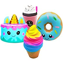 Slow Rising Toy, KYW Slow Rising Decompression 4pcs, Donut + Ice Cream + Jumbo Narwhal Cake + Frappuccino Coffee | Slow Rising Jumbo Kawaii Set for Kids Adults.