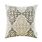 HWY 50 Single Piece Cotton Canvas Embroidery Throw Pillow Covers Sofa Pillowcase European Style Double Gray ( 18×18 inch)