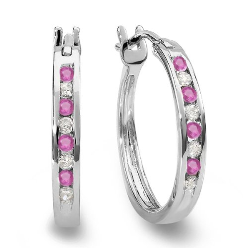 10K White Gold Round White Diamond & Pink Sapphire Ladies Fine Hoop Earrings